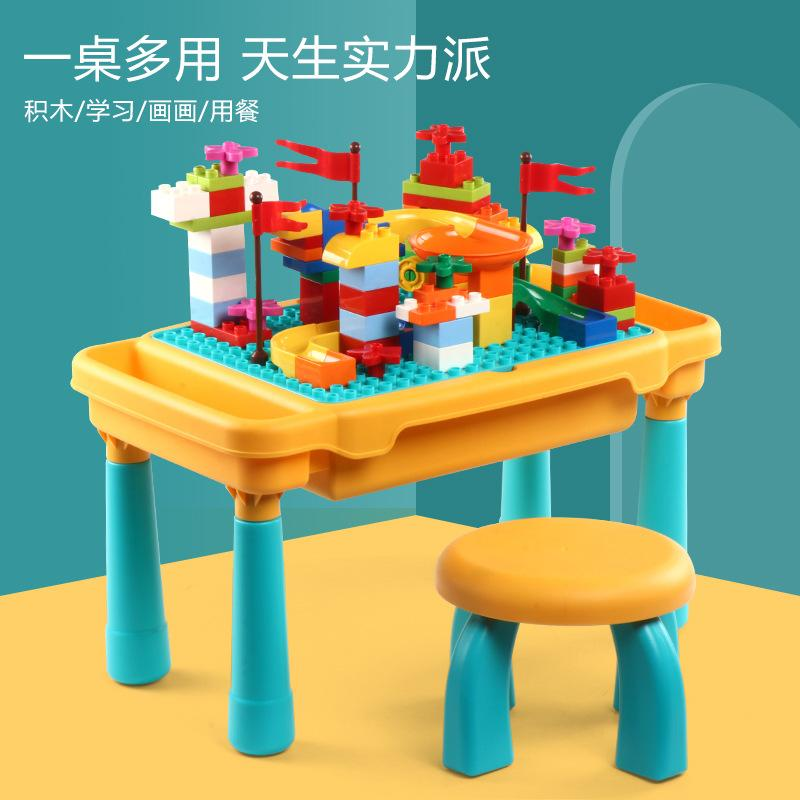Lego assembling and inserting multifunctional building table