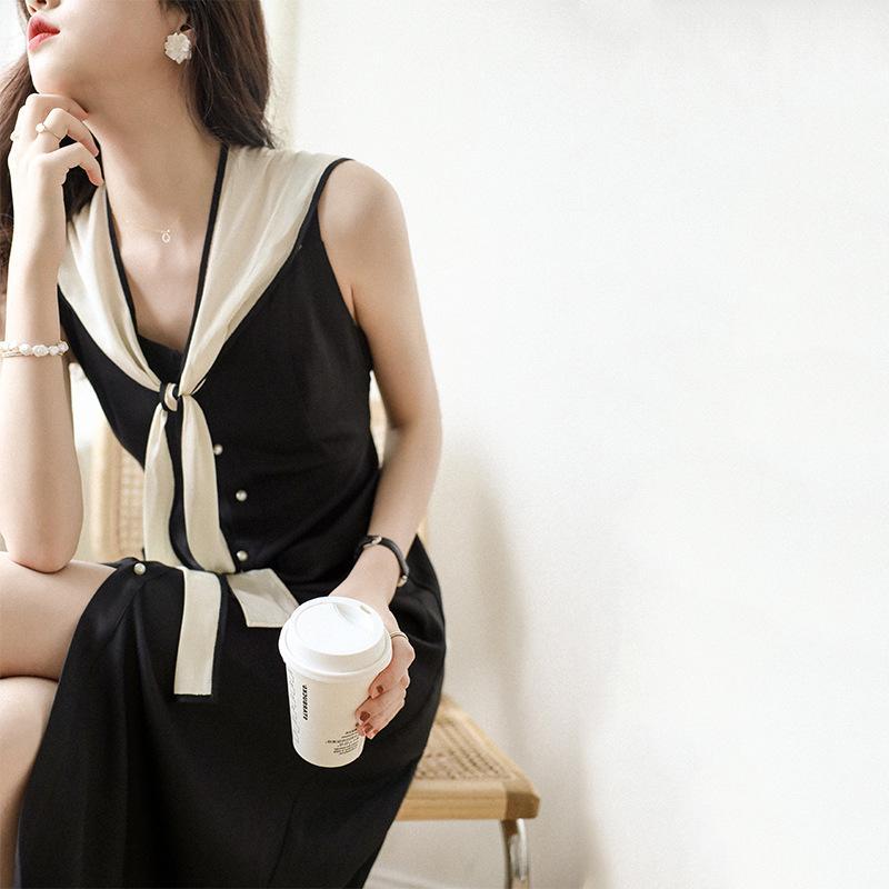 New summer French temperament black dress