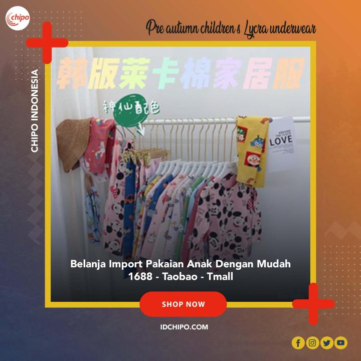 pakaian anak import [Pre] 20 autumn children's Lycra underwear suit male treasure home service girl bottoming pajamas autumn clothing long trousers